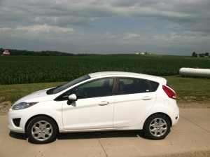 Mighty Ford Fiesta parked in Iowa (in case the corn wasn't enough of a clue)