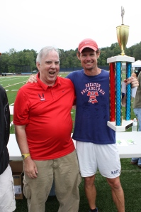 Event director Kyle Mecklenborg and the MOAT (Mother of All Trophies)